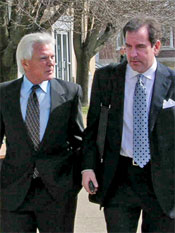 Tom Lakin (left) with his lawyer, who appears to be Rob Riggle of the Daily Show.