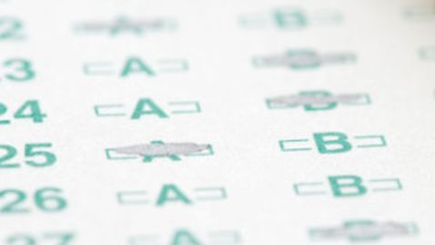 Optical scan answer sheet with #2 pencil representing education testing.