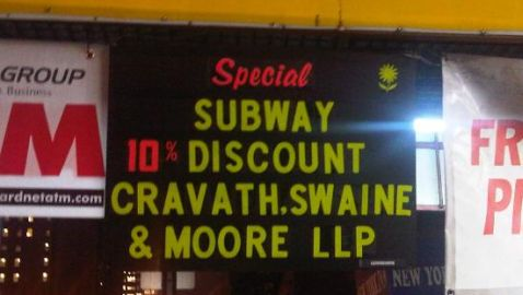 Cravath Employees Get Discount at Subway