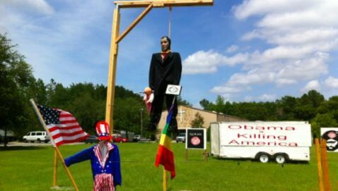 Pastor of Dove World Outreach Center Hangs Effigy of Obama in Front Lawn