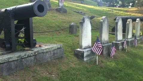 Groundhogs Stealing Flags at New York Cemetary