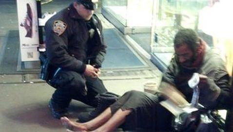 NYPD Officer Buys Homeless Man Boots; Photo Goes Viral