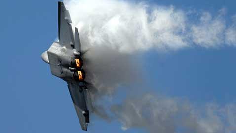 U.S. F-22s Fly over the Sky of South Korea