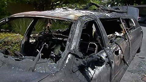 the limo burned as the elderly women escaped