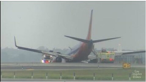 Southwest Jet Crashes On Its Nose After Landing Gear Fails, Injuring 10