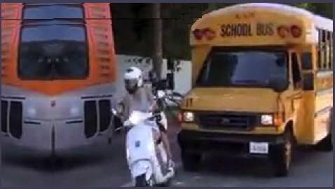 Gwyneth Paltrow Cuts Off School Bus on Vespa