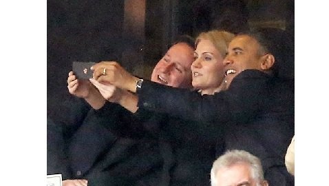 Obama Takes Selfie at Funeral