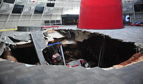Massive Sink Hole Damages National Corvette Museum
