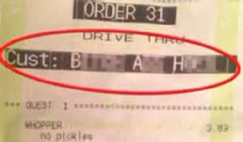 Vulgar Receipt Given to a Grandmother by Burger King Drive-thru Employee