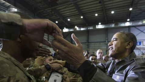 President Obama Surprises Troops at Bagram Airfield in Afghanistan