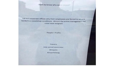 "Managers Walk Out of Chipotle Due to ""Borderline Sweatshop Conditions"""