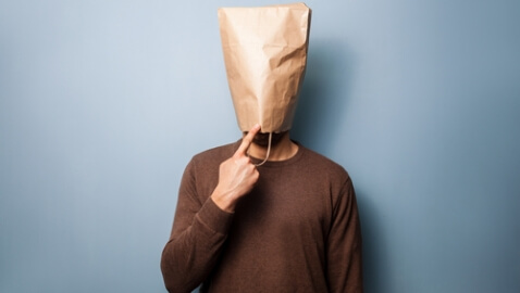 paper bag on head