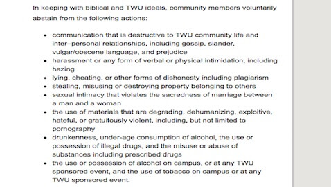 An excerpt from Trinity Western University's covenant that all students and faculty must follow.