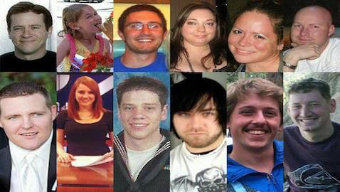 The twelve victims of the Aurora, Colorado theater shooting.