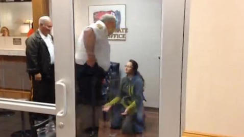 Diprizio knelt on the floor after she was asked to leave the probate judge's office.