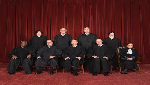 Seated left to right: Justice Clarence Thomas, Justice Antonin Scalia, Chief Justice John G. Roberts, Justice Anthony M. Kennedy, Justice Ruth Bader Ginsburg. Standing left to right: Justice Sonia Sotomayor, Justice Stephen G. Breyer, Justice Samuel A. Alito, Jr., Justice Elena Kagan.