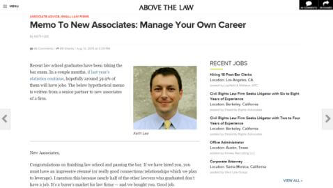 Memo to New Associates: Manage Your Own Career