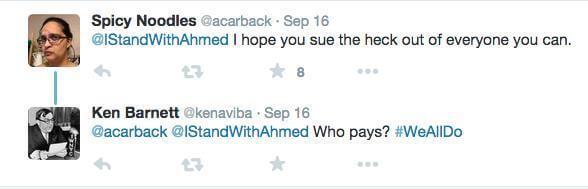 Tweet telling Ahmed to sue everyone