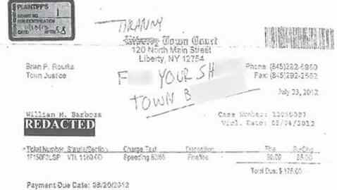 Man Gets Arrested for Writing a Crude Note on His Speeding Ticket