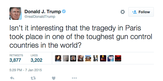 Donald Trump Tweeting About Guns
