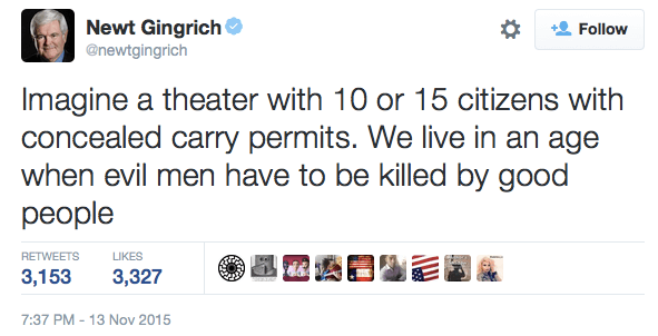 Newt Gingrich Tweets About Guns