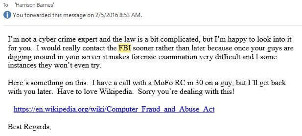 Email about FBI involvement in phishing attempt