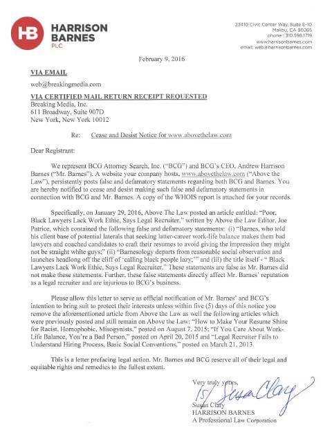 Harrison Barnes PLC Cease and Desist Letter