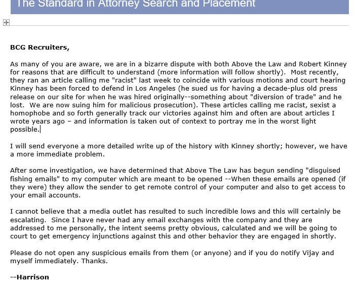 Email about Robert Kinney
