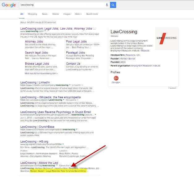 LawCrossing Google Search