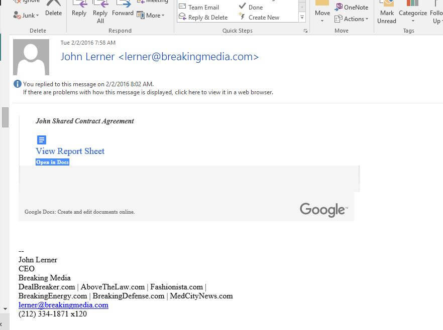 Phishing email from John Lerner