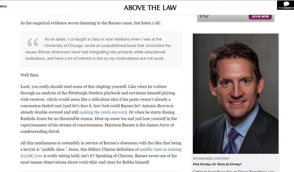 Robert Kinney ad on Harrison Barnes Above the Law Article