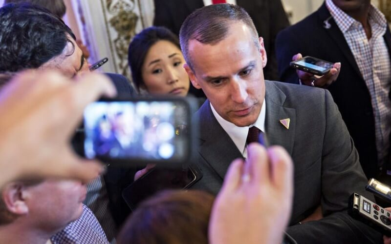 Corey Lewandowski, campaign manager for 2016 Republican presidential candidate Donald Trump, speaks to members of the media before a news conference at the Mar-A-Lago Club in Palm Beach, Florida, U.S., on Friday, March 11, 2016. Ben Carson, who recently ended his quest for Republican presidential nomination, endorsed his onetime rival Donald Trump Friday striking a blow to presidential candidate Senator Ted Cruz, who had courted Carson because they appeal to many of the same religious-minded voters. Photographer: Andrew Harrer/Bloomberg via Getty Images