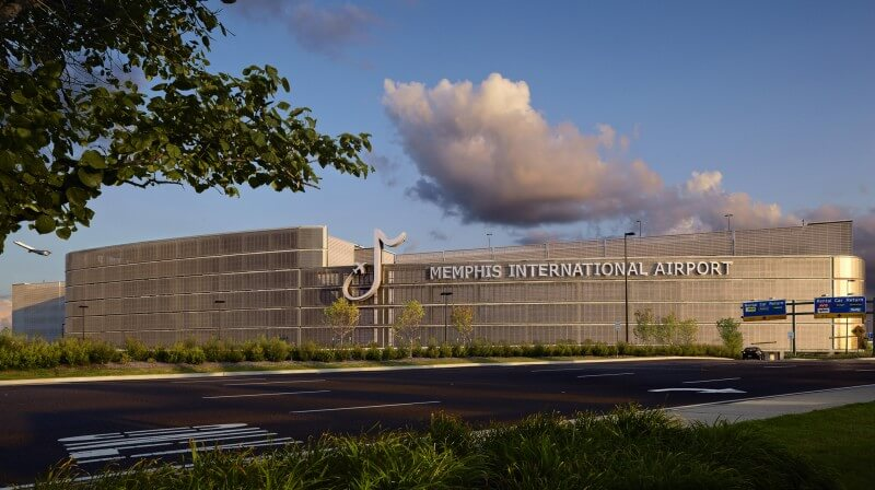 Memphis International Airport_Parking Facility_Front Elevation_Late Afternoon